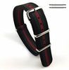 Timex Compatible Black Red Green Stripes One Piece Slip Through Nylon Watch Band Strap Buckle #6F20