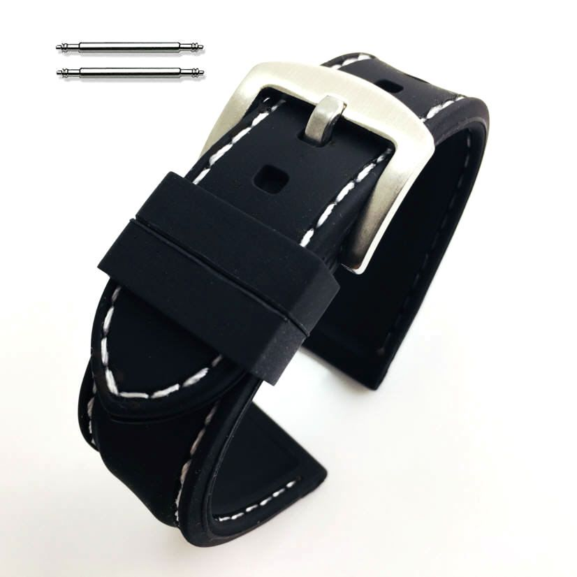 Timex Compatible Black Rubber Silicone PU Replacement Watch Band Strap Steel Buckle White Stitching #4003