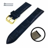 Timex Compatible Blue Croco Genuine Leather Replacement Watch Band Strap Gold Steel Buckle #1083