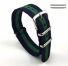 Timex Compatible Green & Navy Blue Stripes One Piece Slip Through Nylon Watch Band Strap Buckle #6010