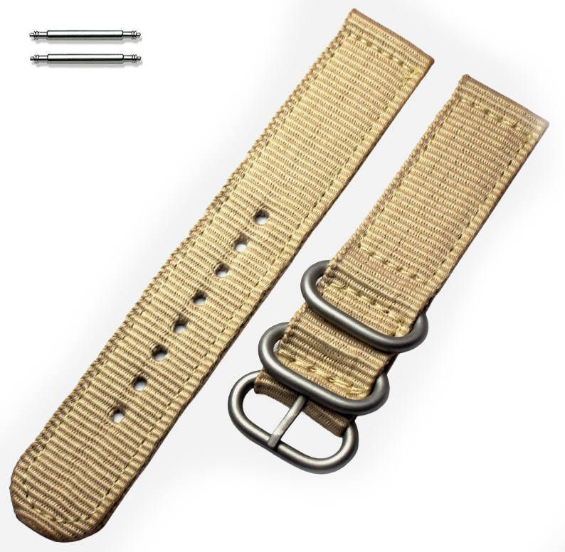 Timex Compatible Khaki Nylon Watch Band Strap Belt Army Military Ballistic Silver Buckle #6039
