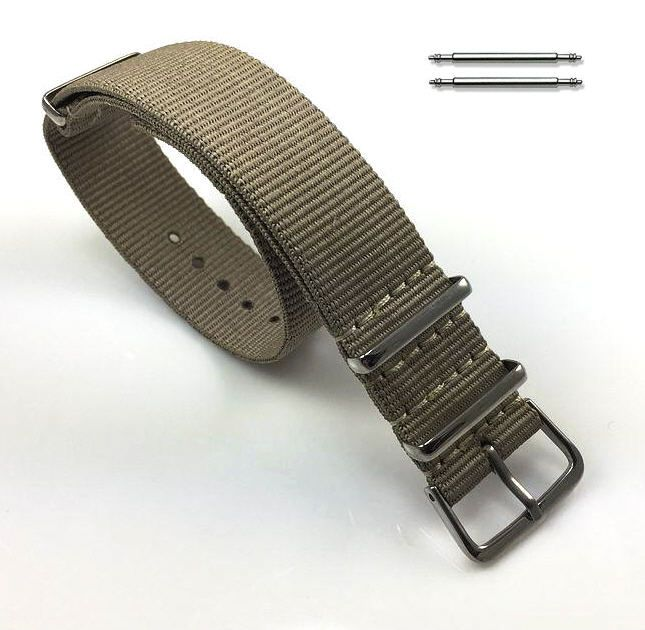 Timex Compatible Khaki One Piece Slip Through Nylon Watch Band Strap Silver Steel Buckle #6001