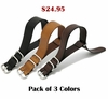 Black One Piece Slip Through Leather 20mm Watch Band Strap Military Style #1091