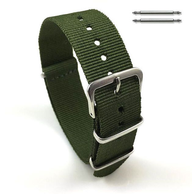 Timex Compatible Military Green One Piece Slip Through Nylon Watch Band Strap Silver Buckle #6006