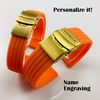 Longines Compatible Orange Rubber Silicone Replacement Watch Band Strap Gold Double Lock Buckle #4013G