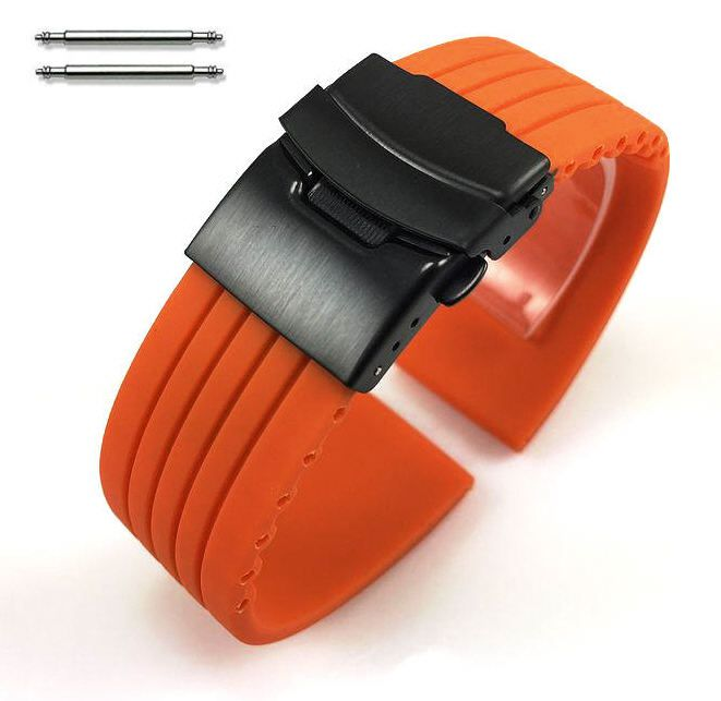 Timex Compatible Orange Rubber Silicone Watch Band Strap Double Locking Black PVD Steel Buckle #4014