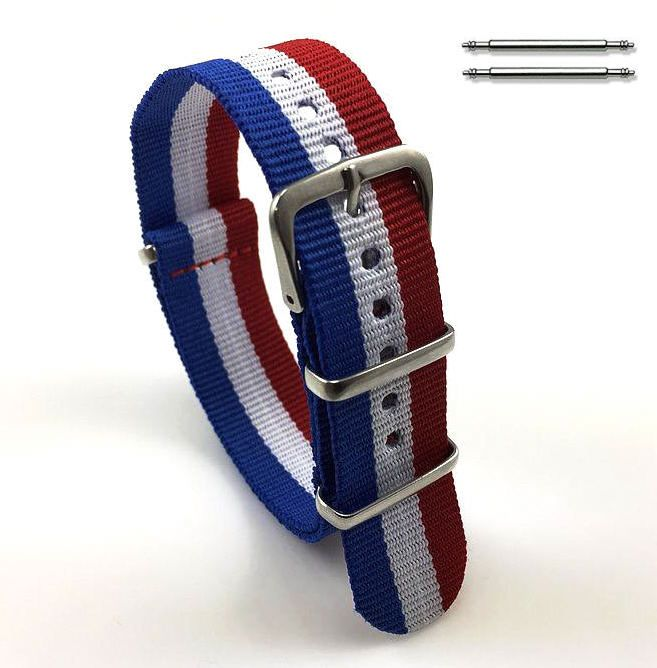 Timex Compatible Red White Blue Stripes One Piece Slip Through Nylon Watch Band Strap Buckle #6016
