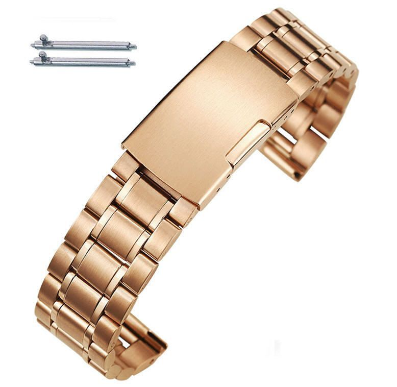 Timex Compatible Rose Gold Steel Metal Bracelet Replacement Watch Band Strap Push Button Clasp #5018