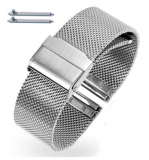 Timex Compatible Silver Steel Metal Adjustable Mesh Bracelet Watch Band Strap Double Lock Clasp #5025