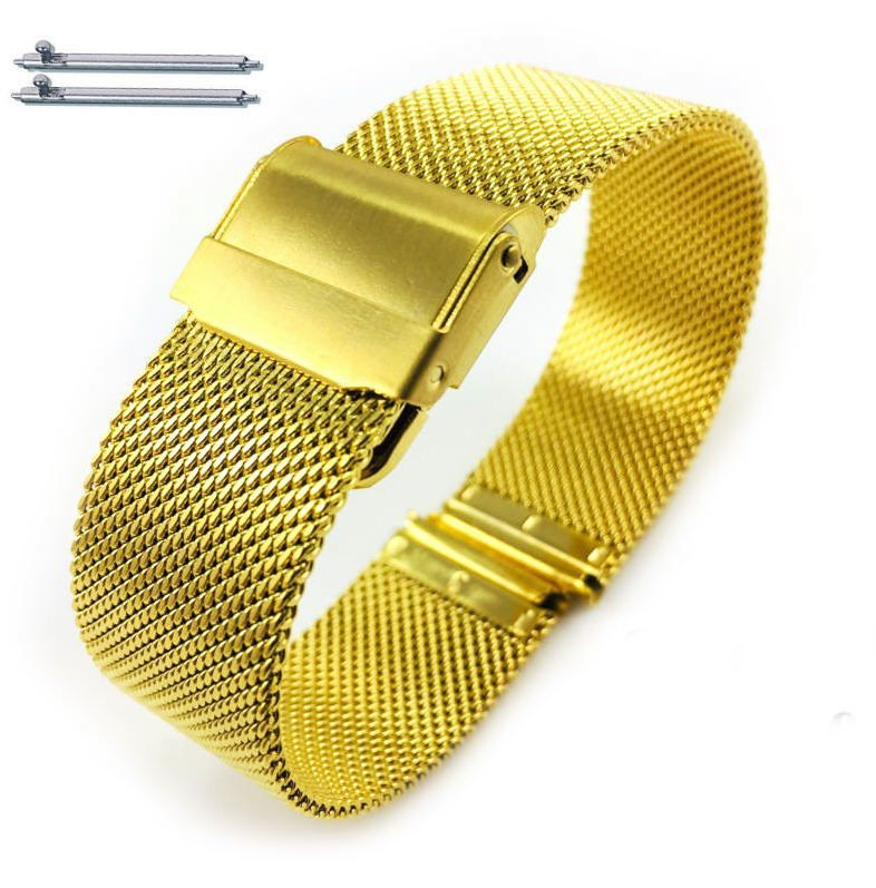 Timex Compatible Steel Metal Adjustable Mesh Bracelet Watch Band Strap Double Lock Clasp Gold #5027