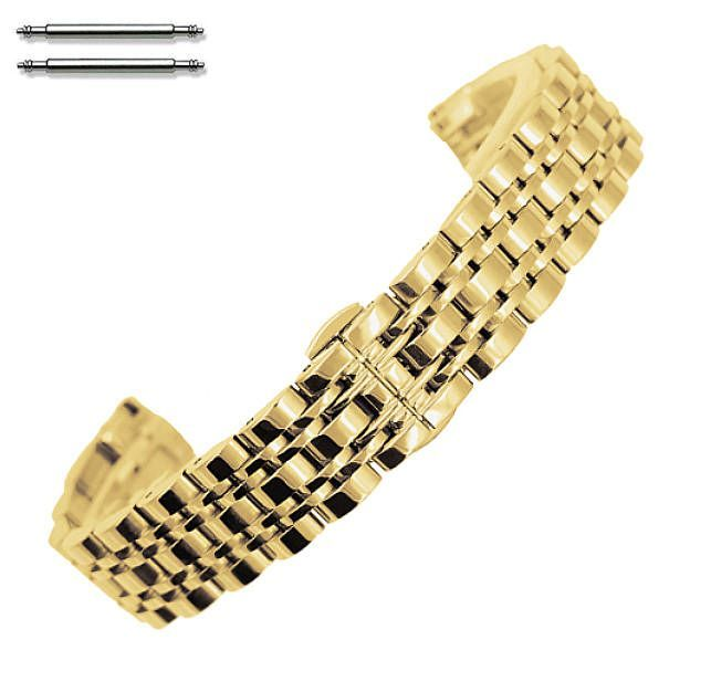 Timex Compatible Steel Polished Gold Tone Metal Replacement Watch Band Strap Butterfly Clasp #5057