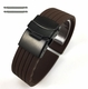 Tissot Compatible Brown Rubber Silicone Watch Band Strap Double Locking Black Steel Buckle #4018