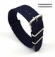 Tissot Compatible Dark Blue Navy One Piece Slip Through Nylon Watch Band Strap Steel Buckle #6004