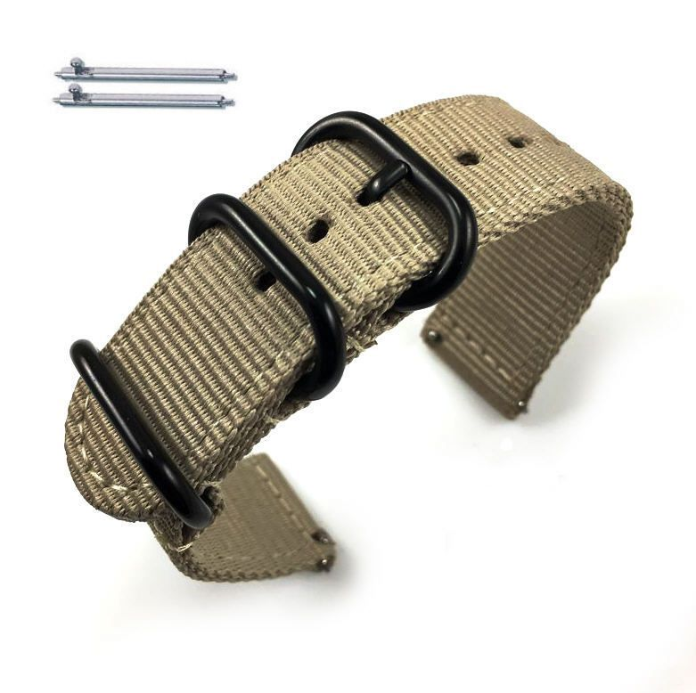 Tissot Compatible Khaki Nylon Watch Band Strap Belt Army Military Ballistic Black Buckle #6040