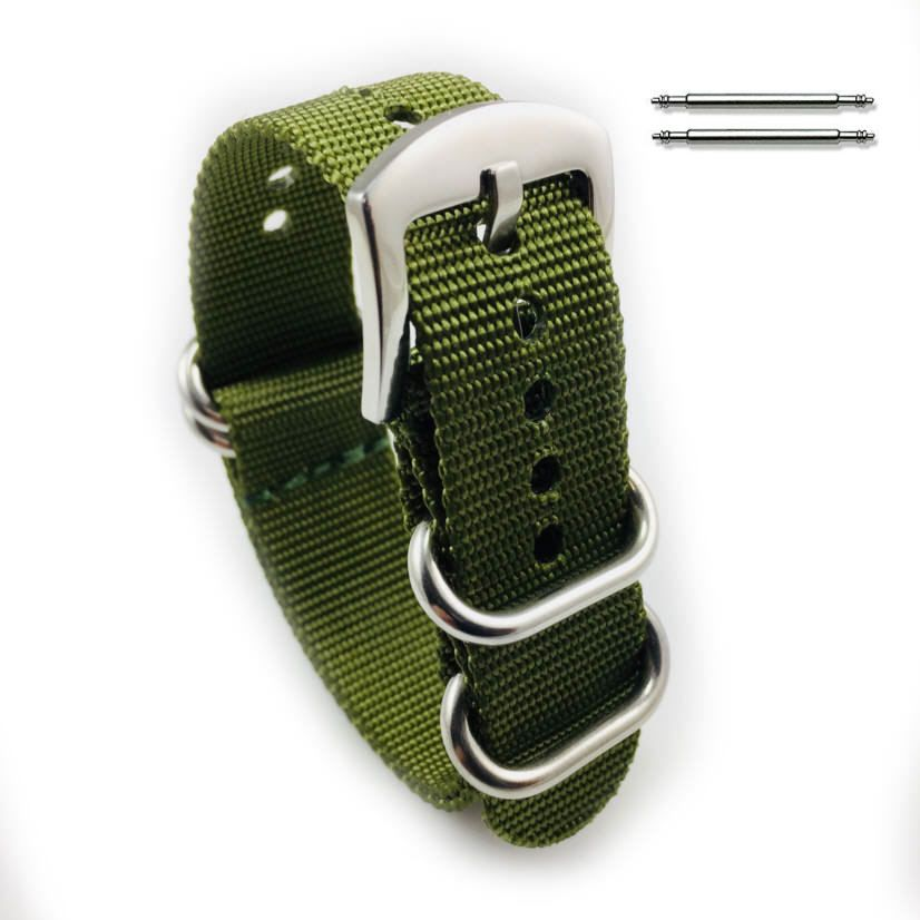 TW Steel Compatible Green One Piece Slip Through Nylon Watch Band Army Military Silver Buckle #6023