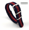 TW Steel Compatible Red and Navy Stripes One Piece Slip Through Nylon Watch Band Strap SS Buckle #6007