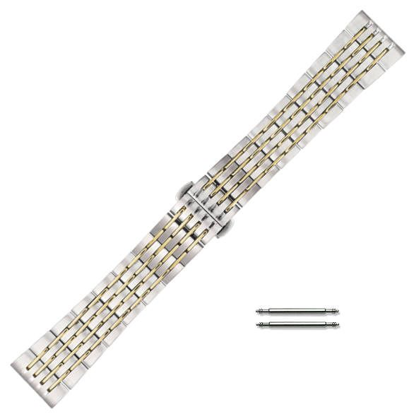 Two Tone Gold /Steel Metal Bracelet Replacement 20mm Watch Band Butterfly Clasp #5008