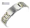 Two Tone Gold Steel Metal Bracelet Replacement Watch Band Strap Push Button Clasp #5019