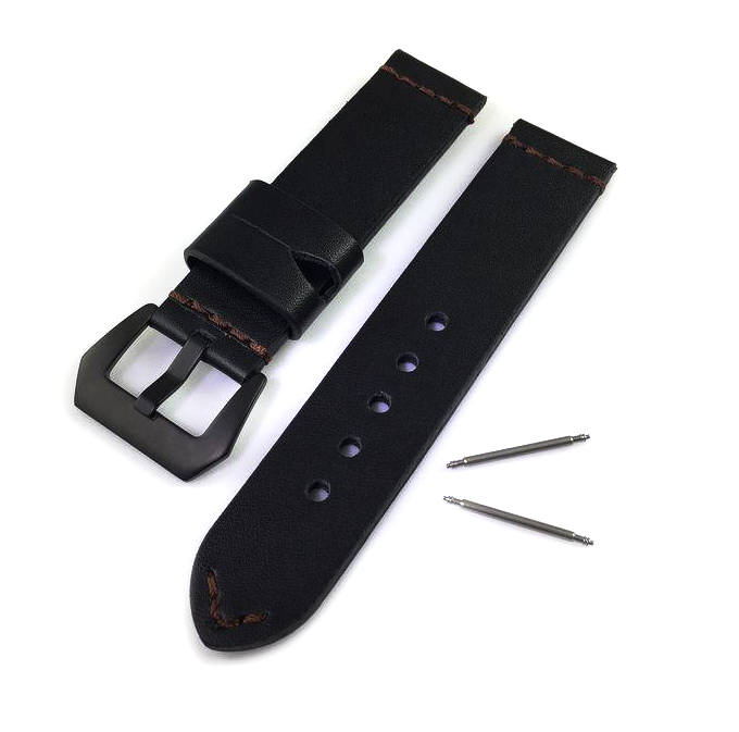 Longines Compatible Black Genuine Leather Replacement Watch Band Strap PVD Steel Buckle #1011