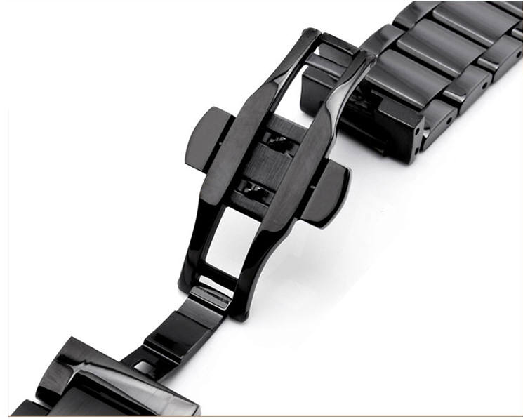 Lacoste Compatible Black PVD Steel Metal Bracelet Replacement Watch Band Strap Push Butterfly Clasp #5011