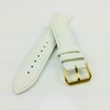 Lacoste Compatible White Croco Genuine Leather Replacement Watch Band Strap Gold Steel Buckle #1085