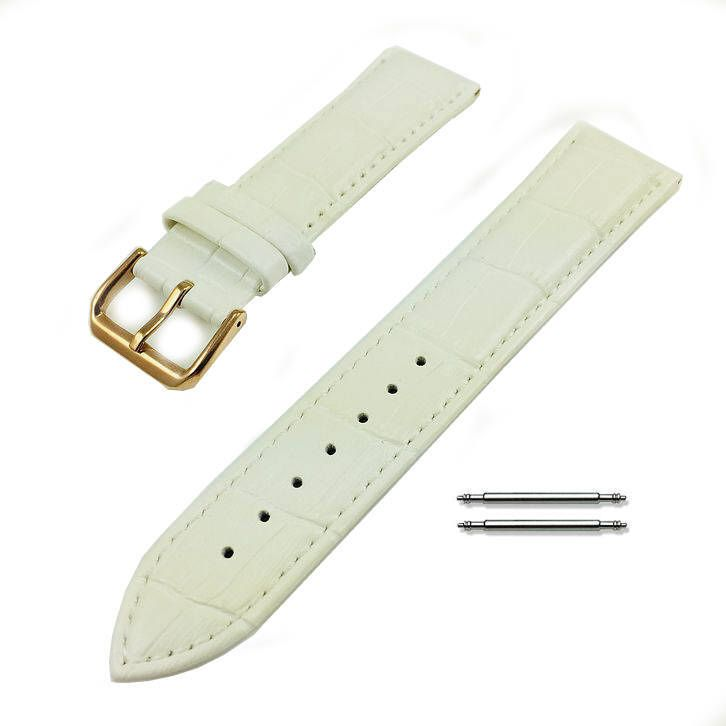 White Croco Leather Replacement 18mm Watch Band Strap Rose Gold Steel Buckle #1075