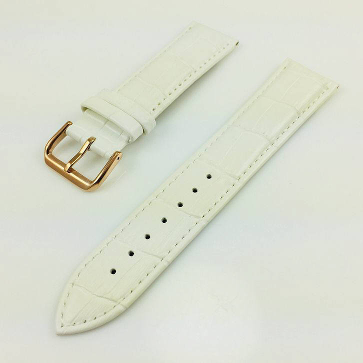Nautica Compatible White Croco Leather Replacement Watch Band Strap Rose Gold Steel Buckle #1075