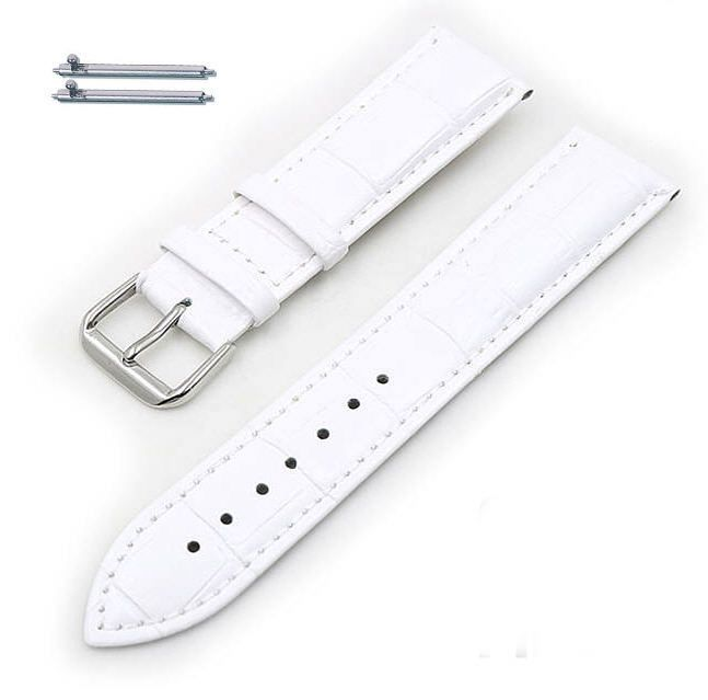White Elegant Croco Genuine Leather Replacement Watch Band Strap Steel Buckle #1045