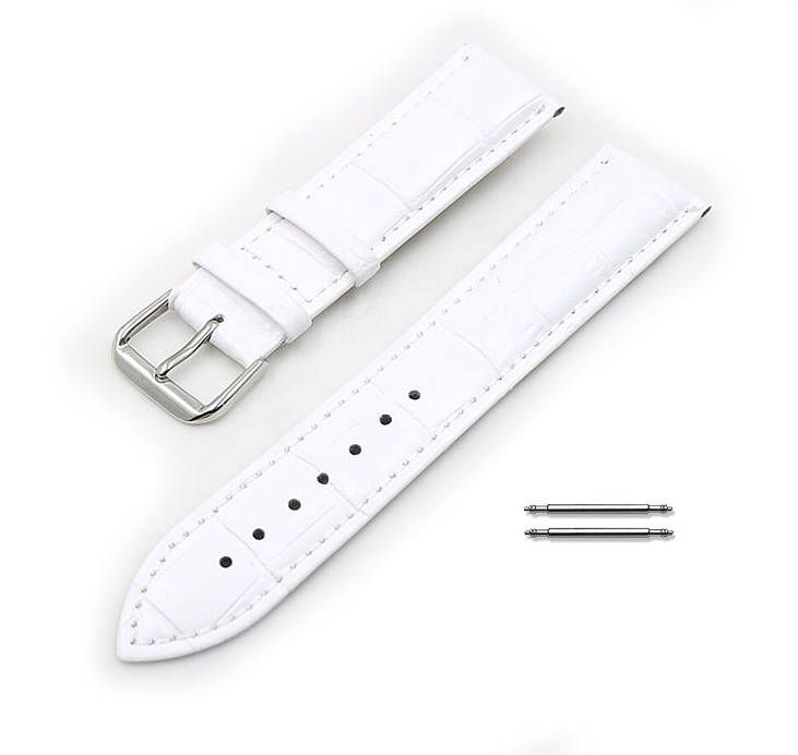 White Elegant Croco Leather Replacement 20mm Watch Band Strap Steel Buckle #1045