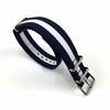 White & Navy Stripes One Piece Slip Through Nylon Watch Band Strap SS Buckle #6008
