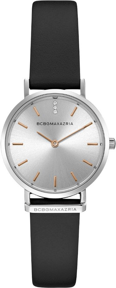 Women's BCBGMAXAZRIA Crystallized Black Leather Strap BCBG Watch BG50821001