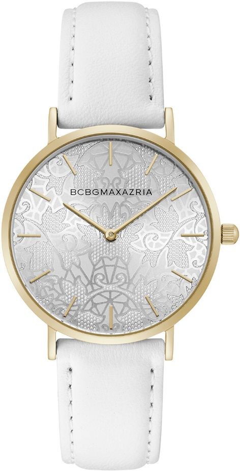 Women's BCBGMAXAZRIA Gold With White Leather Strap Round BCBG Watch BG50696007