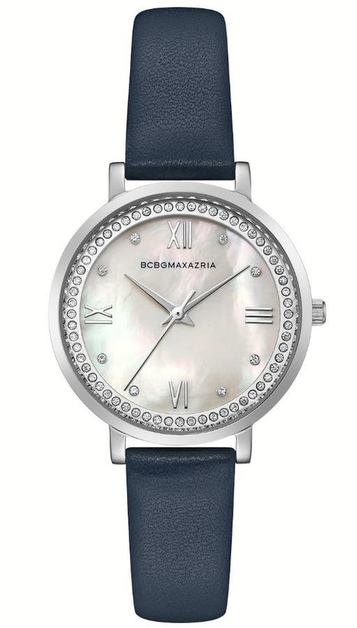 Women's BCBGMAXAZRIA Pearl Dial Crystalized Leather BCBG Watch BG50665007