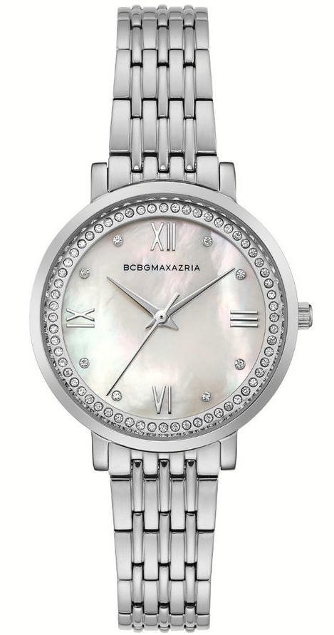 Women's BCBGMAXAZRIA Pearl Dial Crystalized Steel BCBG Watch BG50665001