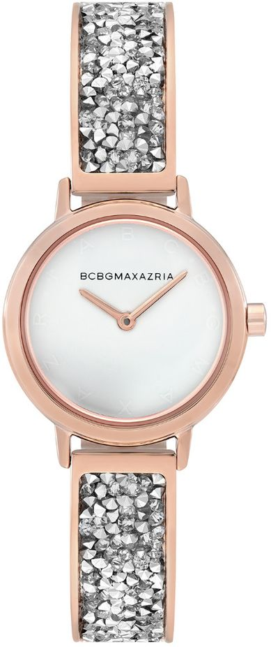Women's BCBGMAXAZRIA Rose Gold Crystallized White Dial BCBG Watch BG51000005