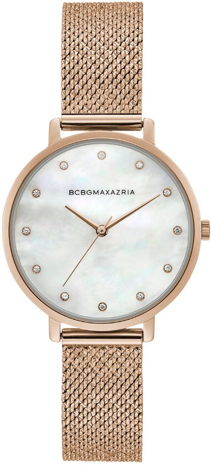 Women's BCBGMAXAZRIA Rose Gold Mother of pearl Mesh Dial BCBG Watch BG50996006