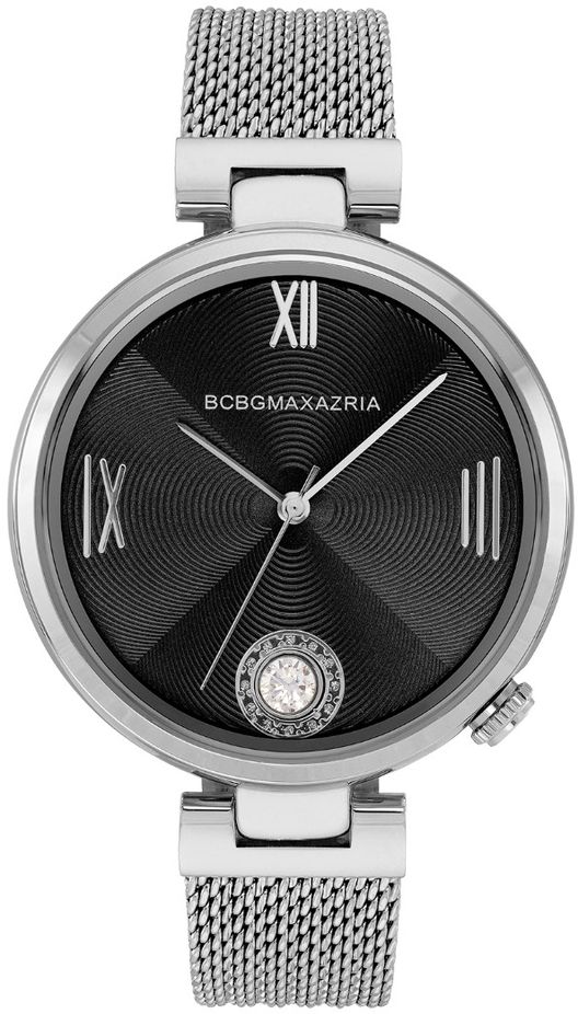 Women's BCBGMAXAZRIA Silver Crystallized Black Dial BCBG Watch BG50906001