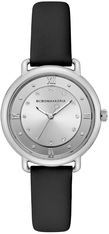 Women's BCBGMAXAZRIA Silver Crystallized Dial leather BCBG Watch BG50911001