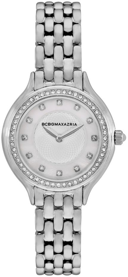 Women's BCBGMAXAZRIA Silver Mother of pearl Crystallized BCBG Watch BG50999006