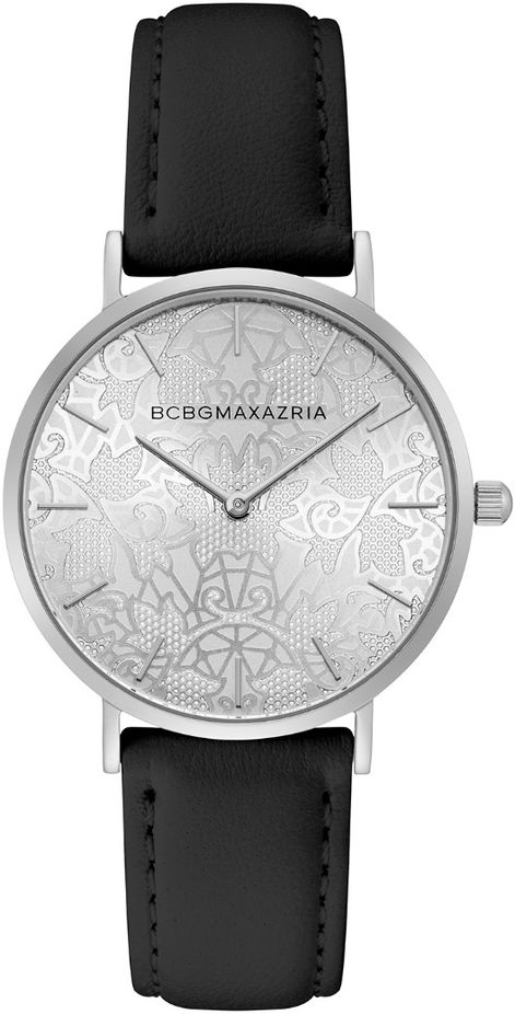 Women's BCBGMAXAZRIA Silver With Black Leather Strap Round BCBG Watch BG50696008