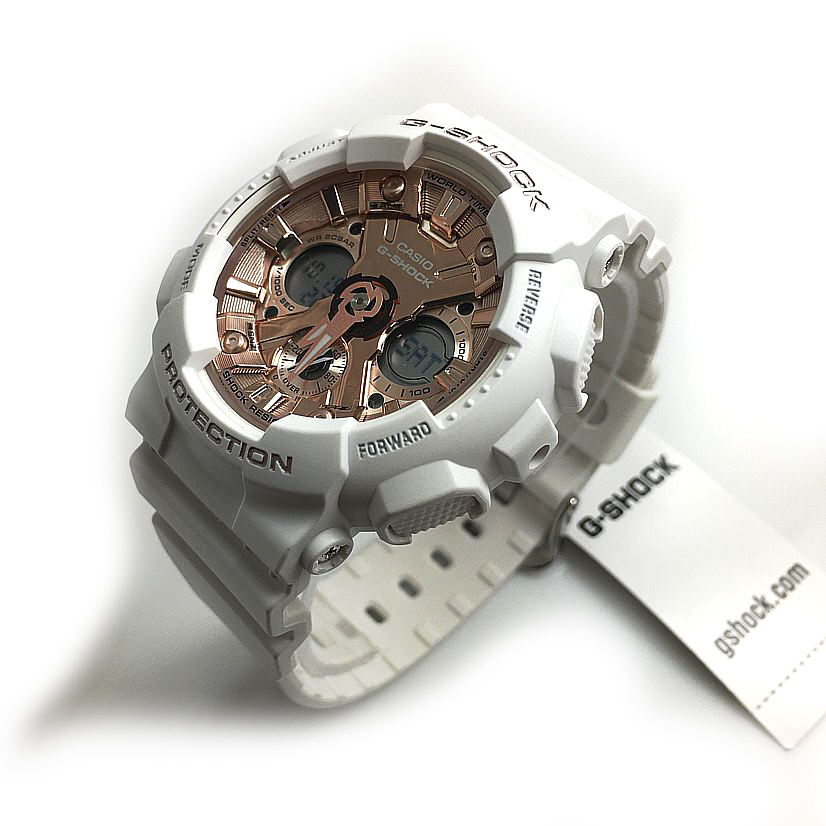 Women's Casio G-Shock White Ana-Digi Watch GMAS120MF-7A2