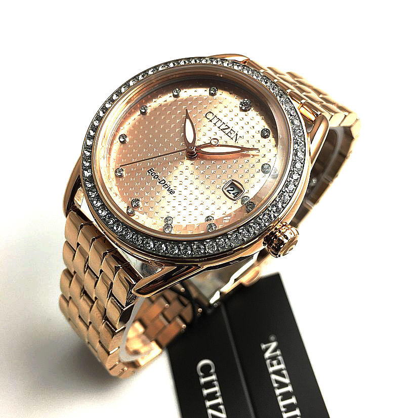 Women's Citizen Chandler Crystallized Rose Tone Steel Watch FE6113-57X