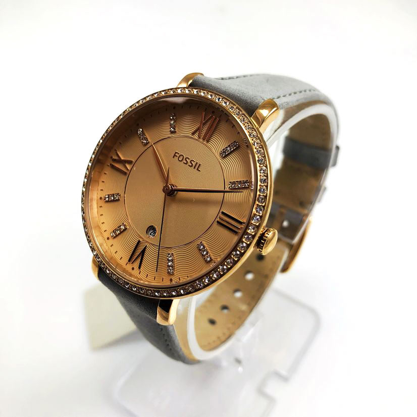 Women's Fossil Jacqueline Grey Leather Crystallized Watch ES4304