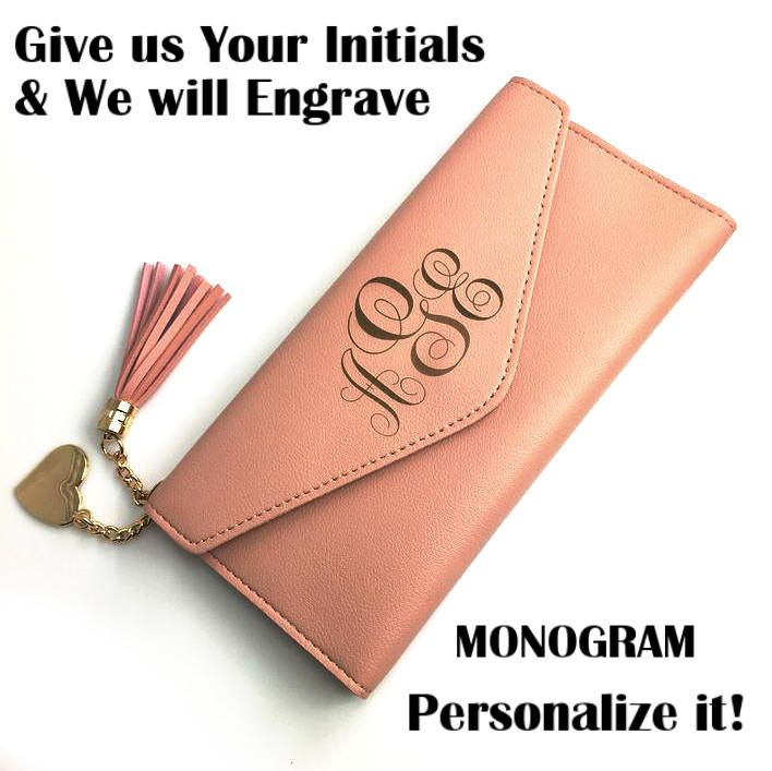 Women's Personalized Clutch Wallet Card Holder Customized w Engraved Monogram