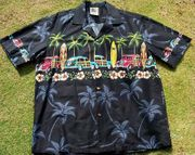 105 Hawaiian Shirt , Palm Tree Woody Black S to 2XL
