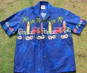 108 Hawaii shirt, Palm Tree Woody Blue, size M to 2XL