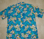 113 Hawaii shirt  Blue plumeria, M to 2XL