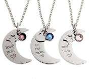 Sister and Best Friend Matching Star and Moon Necklace Set of Three Pendants
