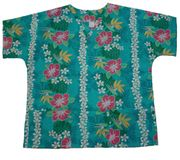 #54 Aqua Blue Pink Flower (50% cotton / 50% poly)