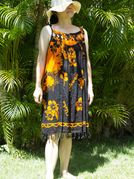 Hawaii Floral print Cover-up Dress - Orange Flower